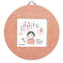 丸型掛軸と豆色紙のセット・赤(私と小鳥と鈴と)